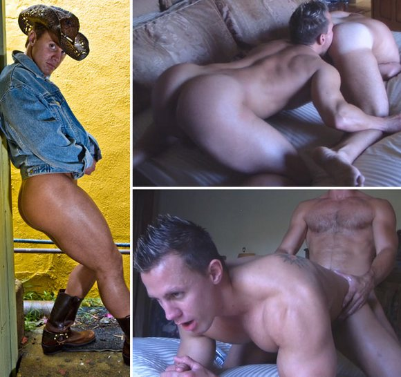 Muscular bubble butt porn star Dean Coxx getting fucked