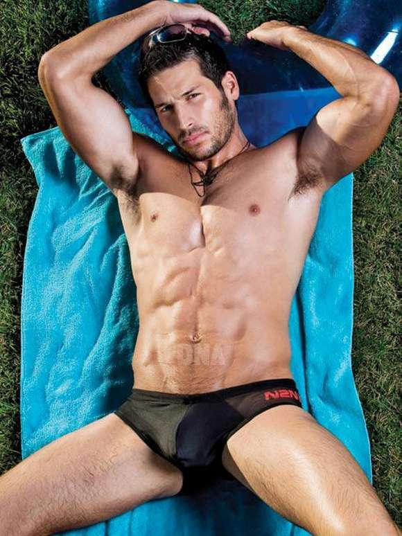 Muscular Randy Blue male models Leo Giamani in DNA gay magazine