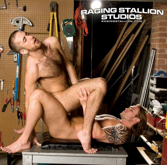 gay porn star David Taylor fucks RJ Danvers in Raging Stallion movie Nailed and Screwed