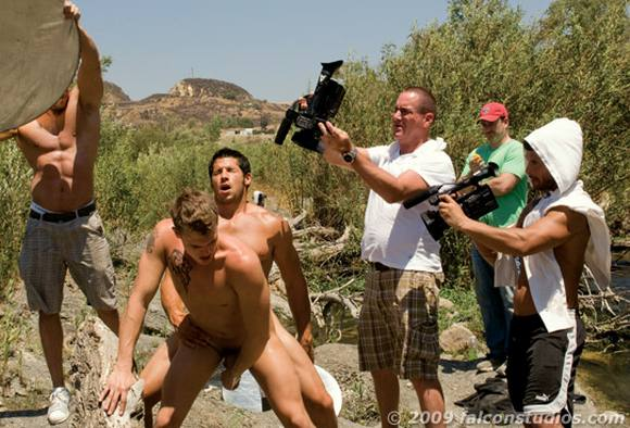 behind the scenes of Falcon porn movie Roughin It gay porn star Leo Giamani ...