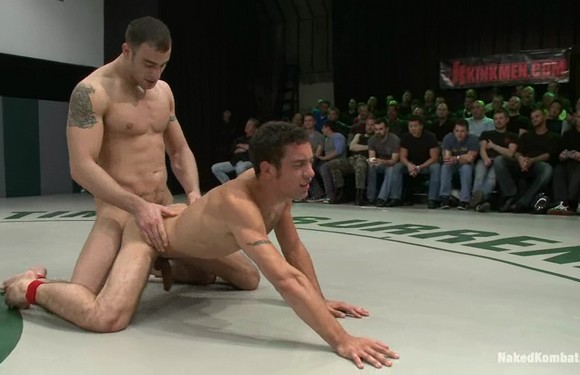 Naked Kombat gay porn star fighter Spencer Reed fucking DJ in front of live audience
