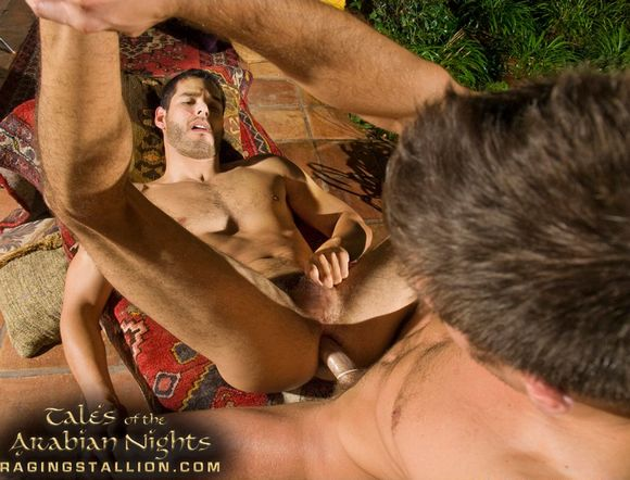 Gay Porn Star Ricky Martinez getting fucked by Derrek Diamond in Tales of Arabian Nights