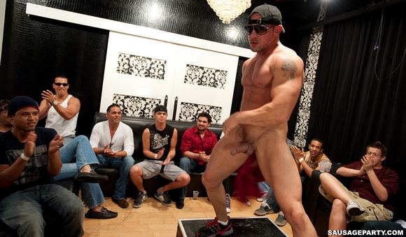 Muscular Gay Porn Stars As Male Strippers at SAUSAGE PARTY