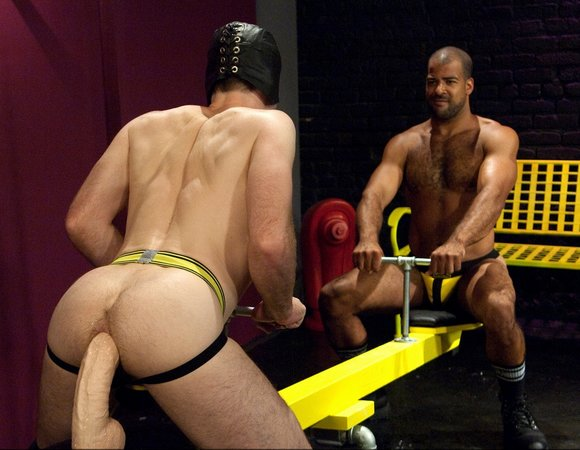The scene is from the movie Fisting Playground 1 starring Roman Wright and ...