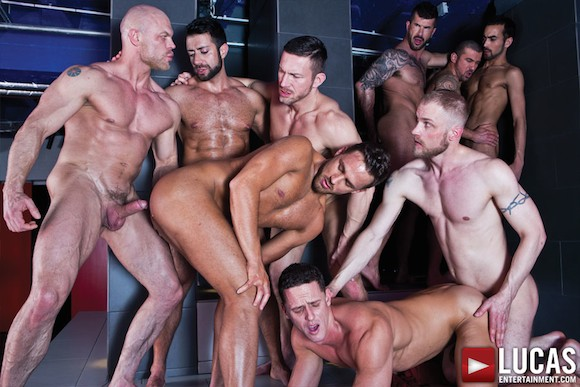 Nine-Man Bareback Orgy