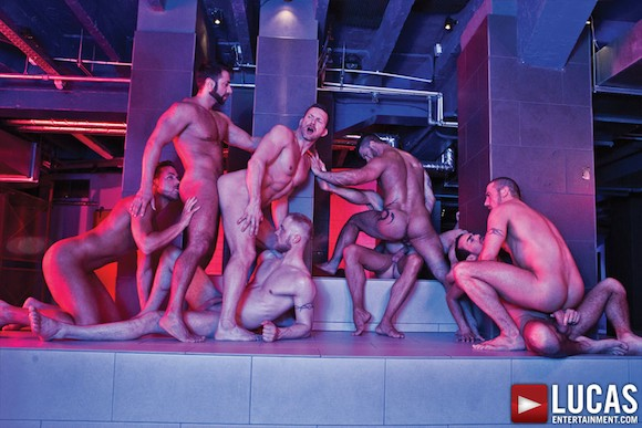 Nine-Man Bareback Orgy 2