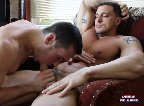 Gay hunk gets sucked off